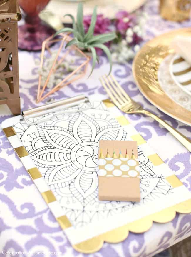 This Purple Celebration Tablescape with Floor Seating will inspire your next festive party. Provide a mandala coloring page for each guest. Get ideas for a bridal shower, engagement celebration, or bridesmaids luncheon.