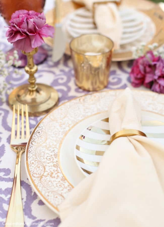 This Purple Celebration Tablescape with Floor Seating will inspire your next festive party. Get ideas for a bridal shower, engagement celebration, or bridesmaids luncheon.