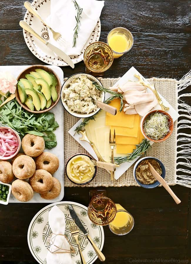 Host the ultimate bagel bar brunch and serve savory toppings with breakfast and lunch options.