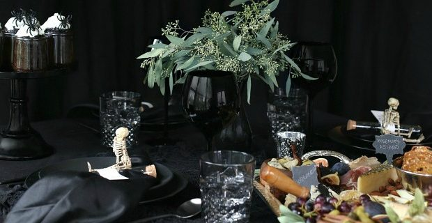 Halloween Themed Dinner Party in Black