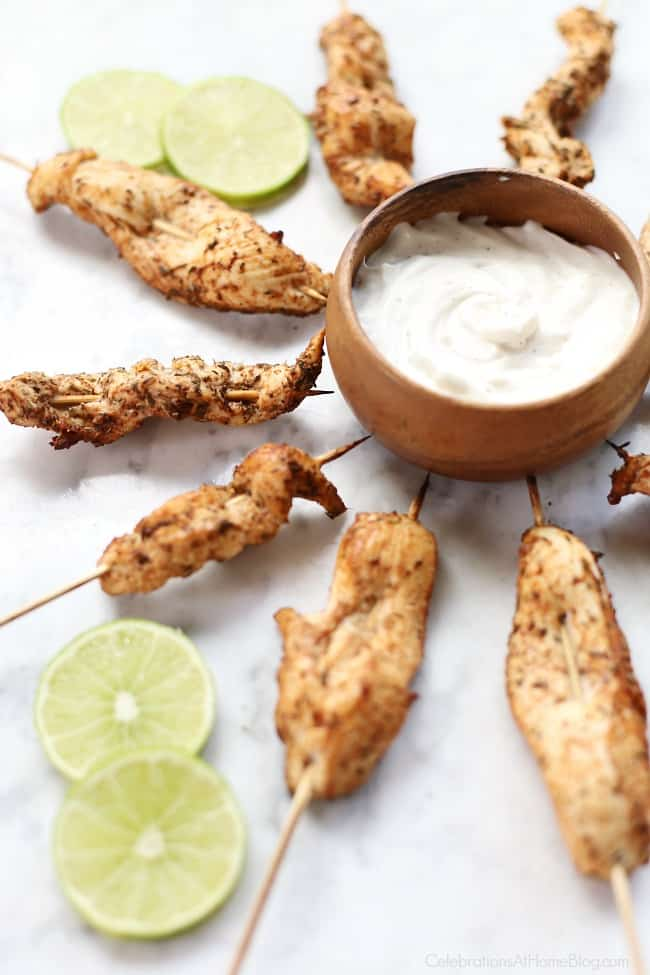 You'll love these Jerk Seasoned Chicken Skewers appetizers for entertaining at home. This party appetizer is delicious and easy to eat. Don't forget to make the dipping sauce too!