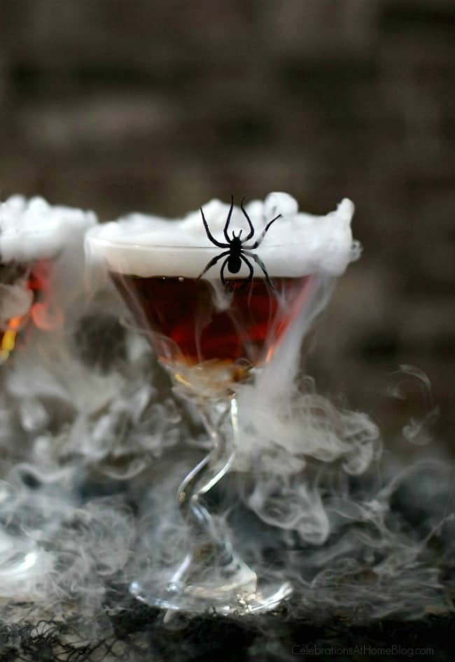 Serve this Halloween Cocktail Black Widow Martini, for your grown up party only! Sip slowly or it might sneak up and bite you!