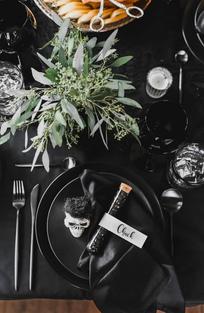Halloween dinner table setting