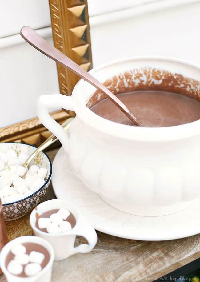 This Homemade Hot Chocolate Recipe is rich and creamy, and tastes like pudding! Make a batch for entertaining for the holidays and beyond.