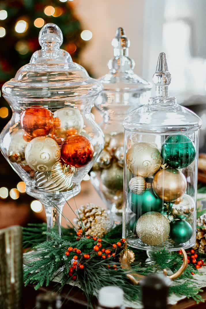 Christmas ornaments in apothecary jars