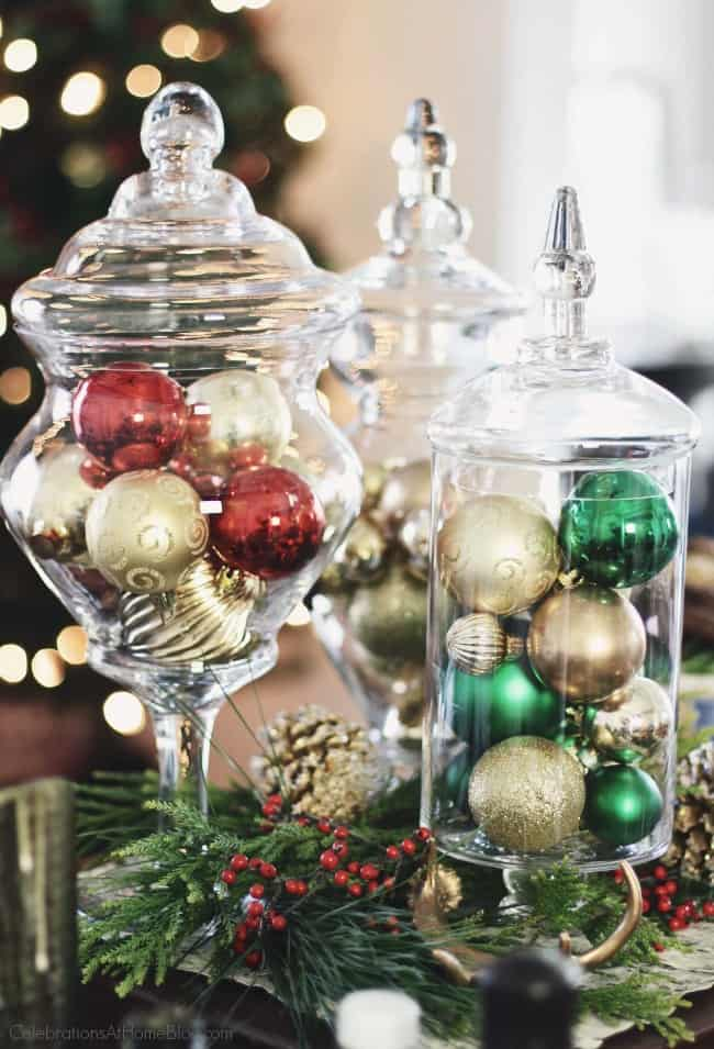 I'm sharing my Cookie Exchange Party Ideas & Recipes for a fun holiday party this season! Try this Christmas centerpiece to decorate your table. #ChristmasDecor #christmascenterpiece #Christmas #cookieexchange #ChristmasParty #CookieExchangeParty #entertaining #cookies #cookierecipes