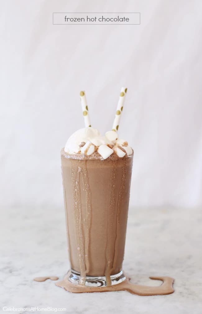 My Frozen Hot Chocolate Recipe is delicious as an afternoon snack or an after dinner dessert! Make it using my homemade hot chocolate recipe for perfect home entertaining