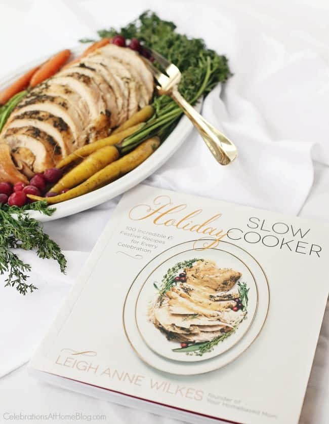 You'll love this Herbed slow cooker Turkey Breast recipe from the Holiday Slow Cooker cookbook. #turkeyrecipe #thanksgiving #slowcooker #maindish #entree #holidayentertaining