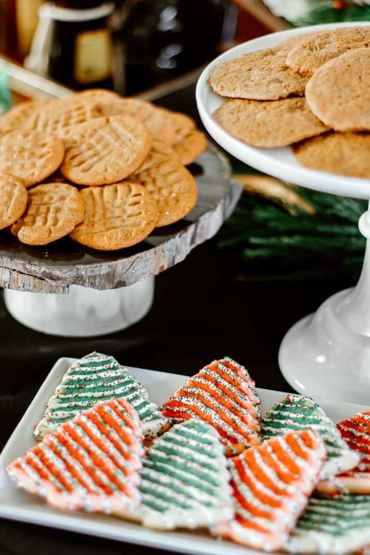Christmas cookies on platters