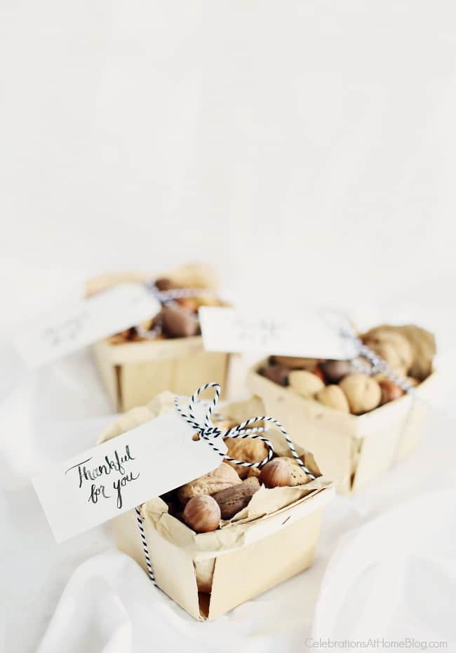 Send guests home with a small gift of nuts. Thanksgiving party favors #partyfavors