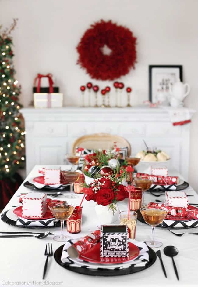 Christmas dining room decorated in red and white