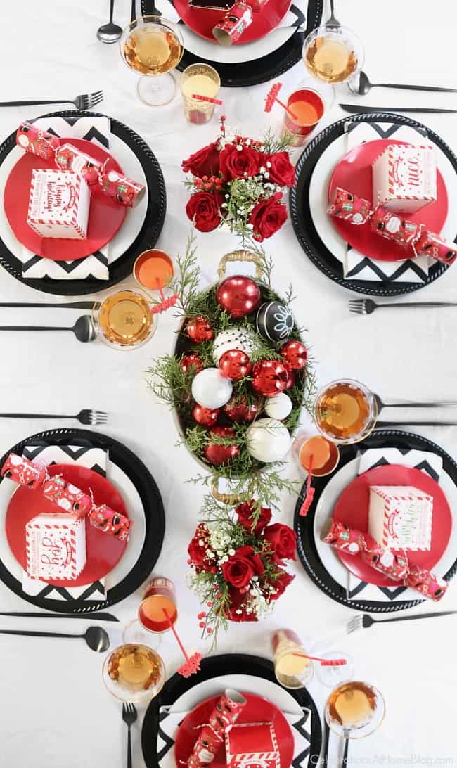 My Red & White Christmas Tablescape is set and ready for brunch. Get inspired by these ideas, and menu items for a relaxing and delicious morning meal. #Christmas #tablescape #Christmastable #brunch #Christmasbrunch #brunchmenu #redwhitetable #entertainingathome