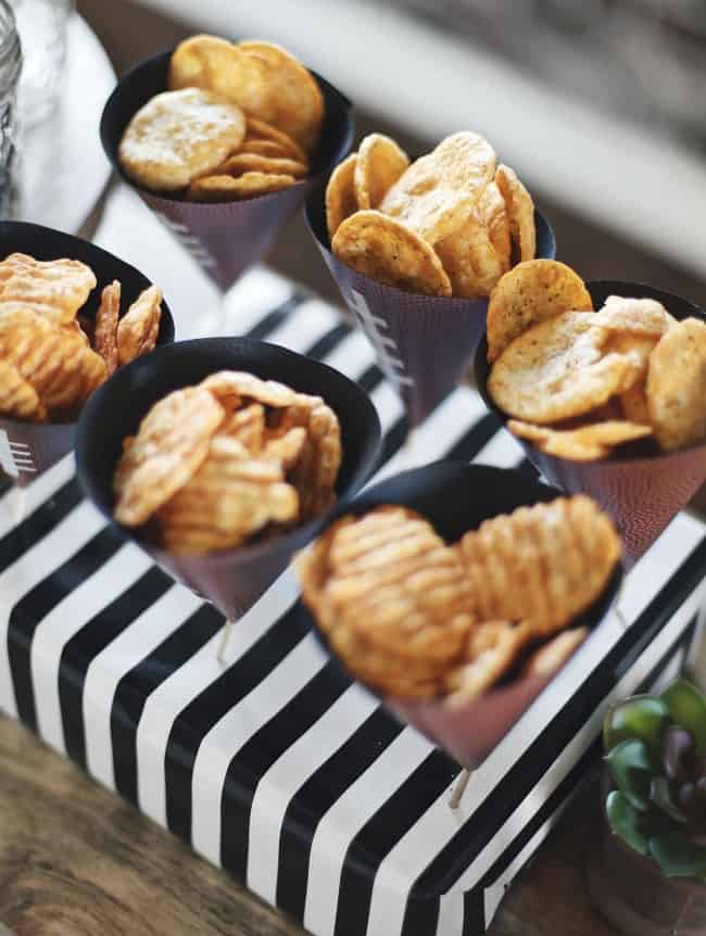 These Game Day Snack Ideas with DIY chip cones will have you ready for casual entertaining at home, in no time! Get my tips and easy craft, here. #gamedaysnacks