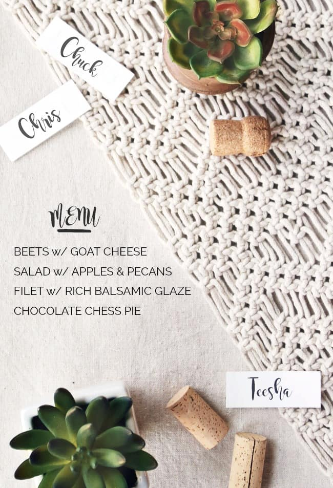 Casual Dinner Party Menu with cream and gold tablescape for entertaining at home.