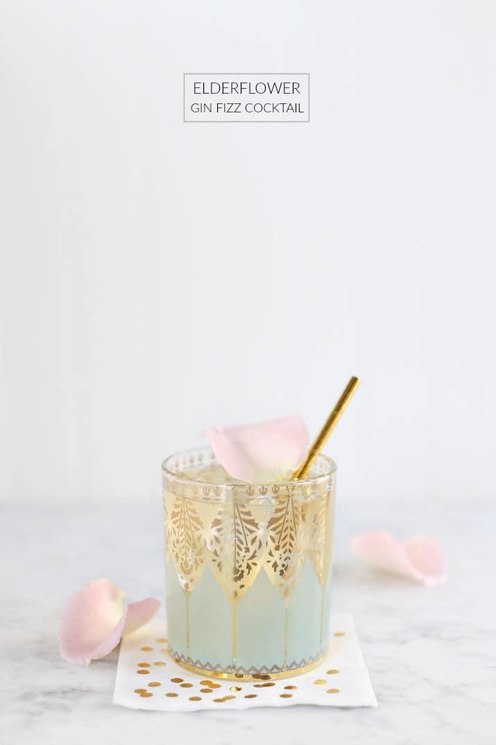 This Elderflower Gin Fizz cocktail is delicious!