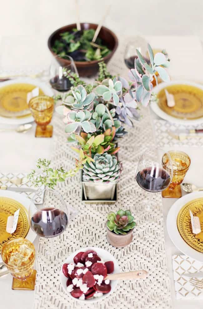 Host a Casual Dinner Party with this cream and gold tablescape plus menu plan.