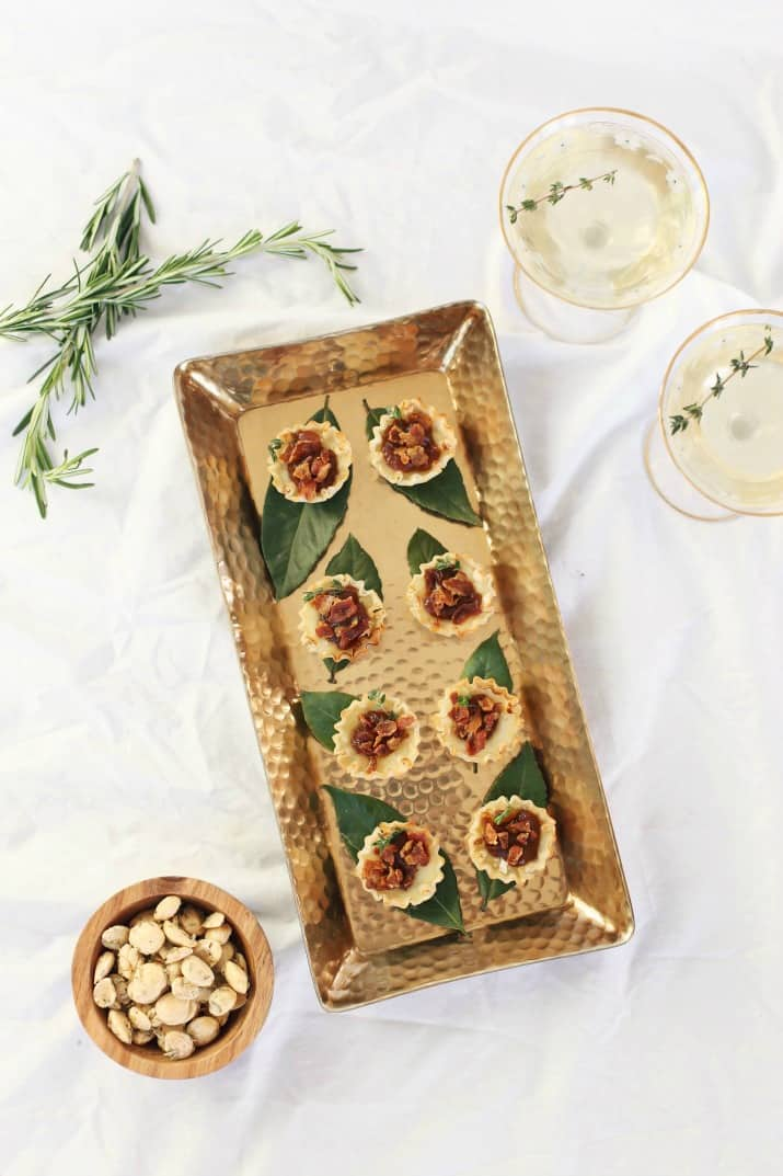 party appetizers on gold tray