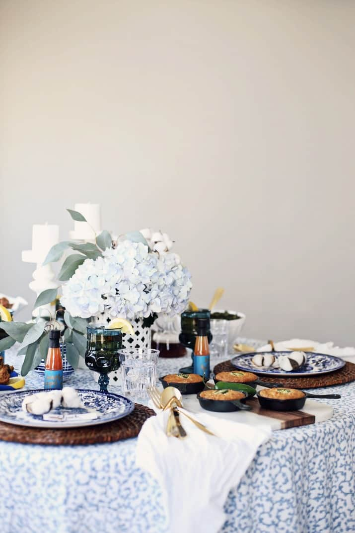 blue and white tablescape for a Southern dinner party