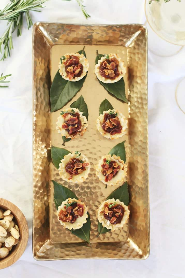 gold tray of brie party appetizer cups top view