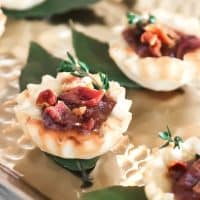 Brie Party Appetizer Cups with Apple-Butter & Bacon