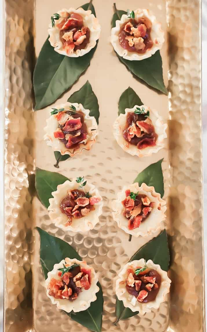 easy brie cups on gold tray overhead view