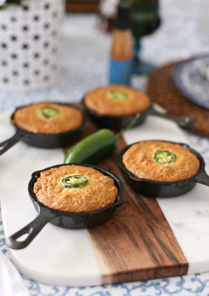 Southern Style Dinner Party Tablescape & Menu - mini skillet cornbread