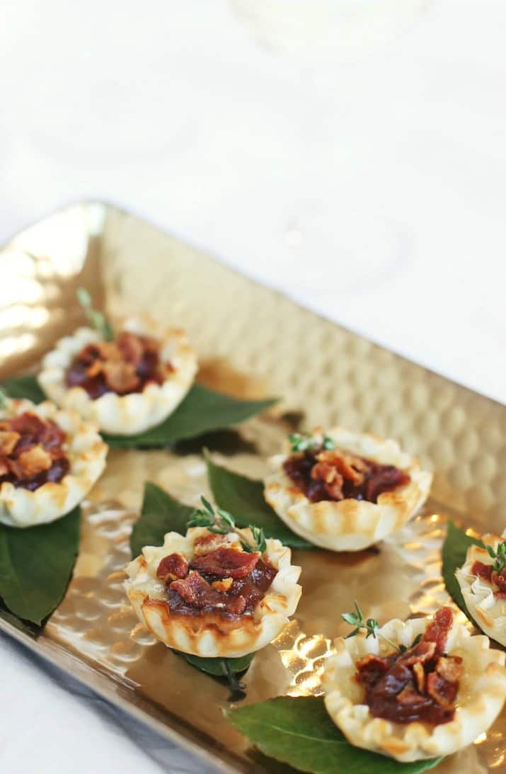 brie party appetizer cups close up on gold tray