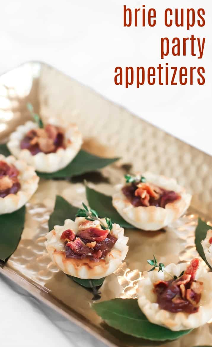 party appetizers with filo cups and brie