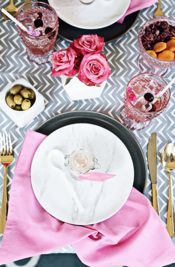 Pink & Gray Tablescape Celebration Dinner Party, top view of place setting
