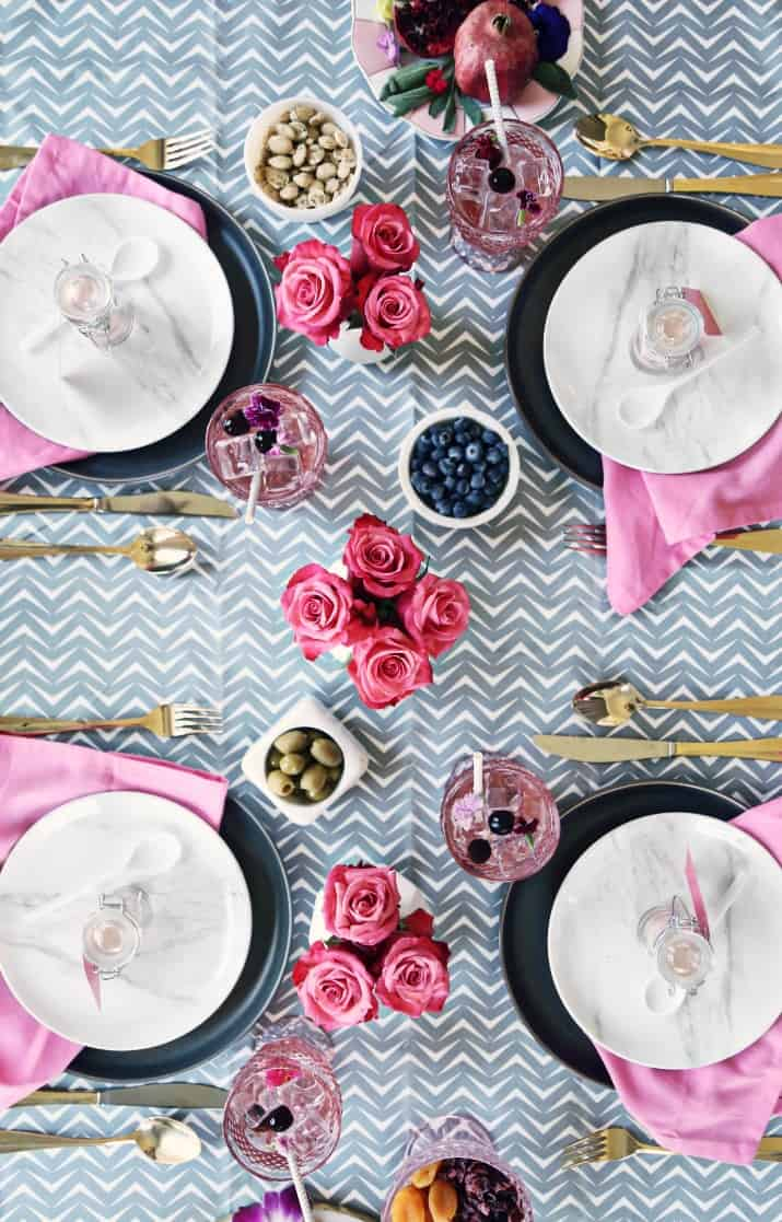 Pink & Gray Tablescape Celebration Dinner Party, top view of tablescape