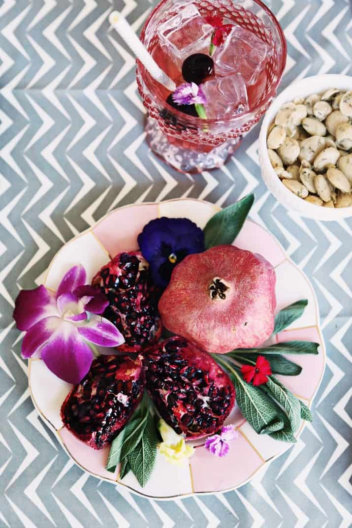 Pink & Gray Tablescape Celebration Dinner Party, pomegranate on plate