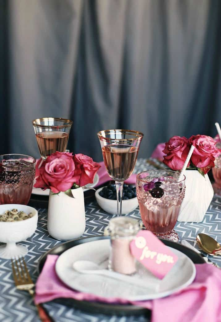Pink & Gray Tablescape Celebration Dinner Party, place setting and roses in mini white vases