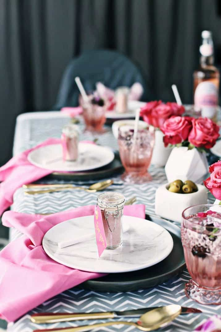 Pink & Gray Tablescape Celebration Dinner Party, side view of two place settings