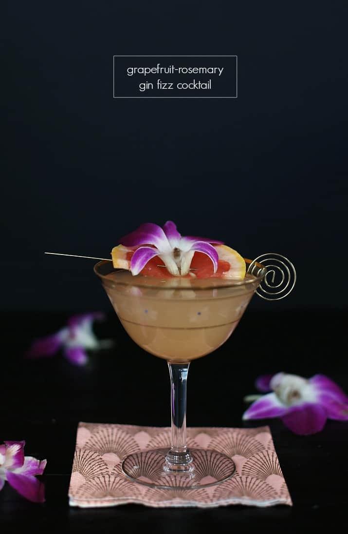 Grapefruit Rosemary Gin Fizz Cocktail
