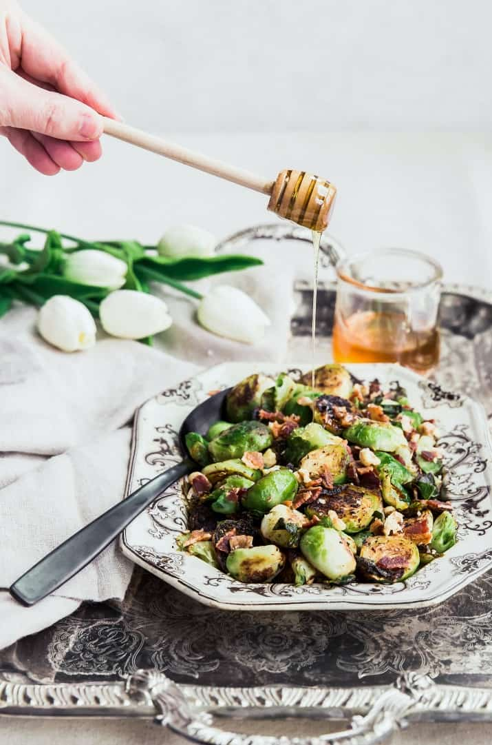 honey drizzled brussels sprouts with bacon