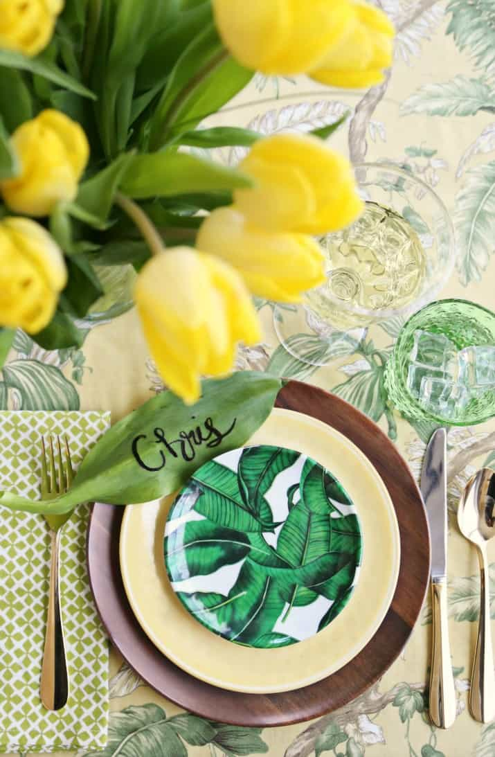 tropical party place setting