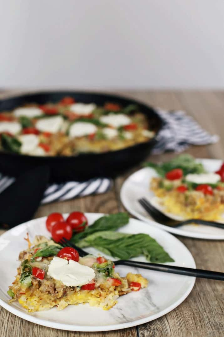Brunch Skillet Recipe with Sausage & Hash Browns on a white plate