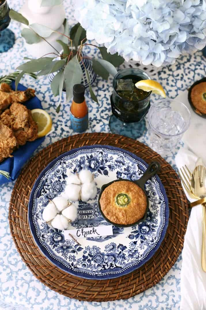 southern style dinner party tablescape & menu; place setting