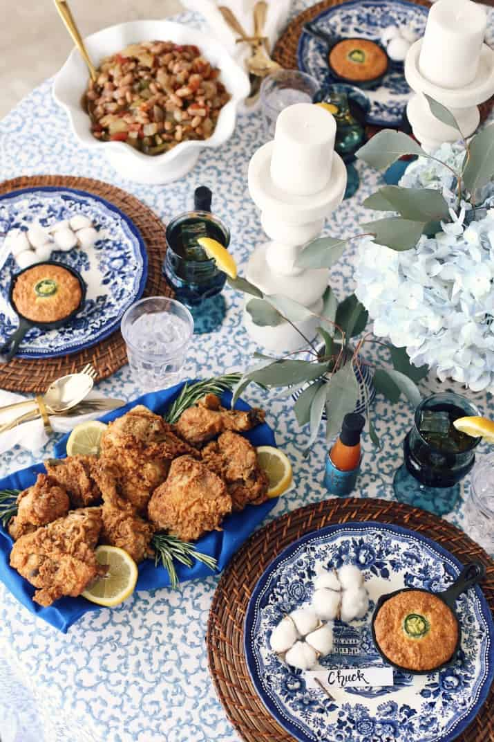 southern dinner party tablescape top view