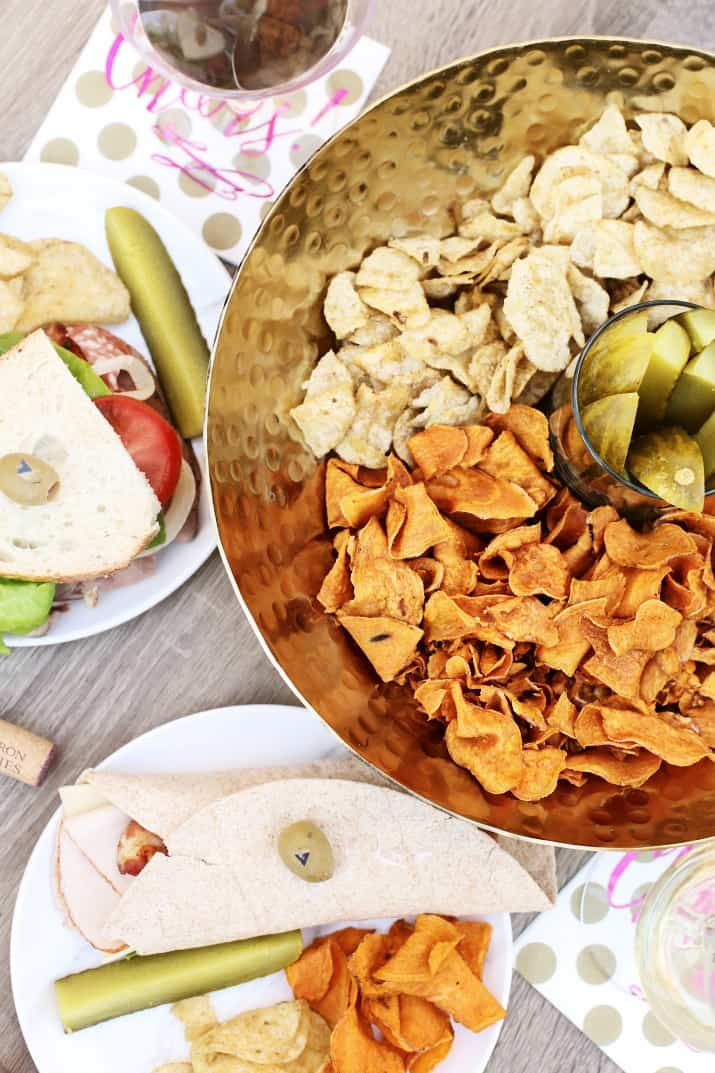 wine tasting party and diy sandwich bar - bowl of chips