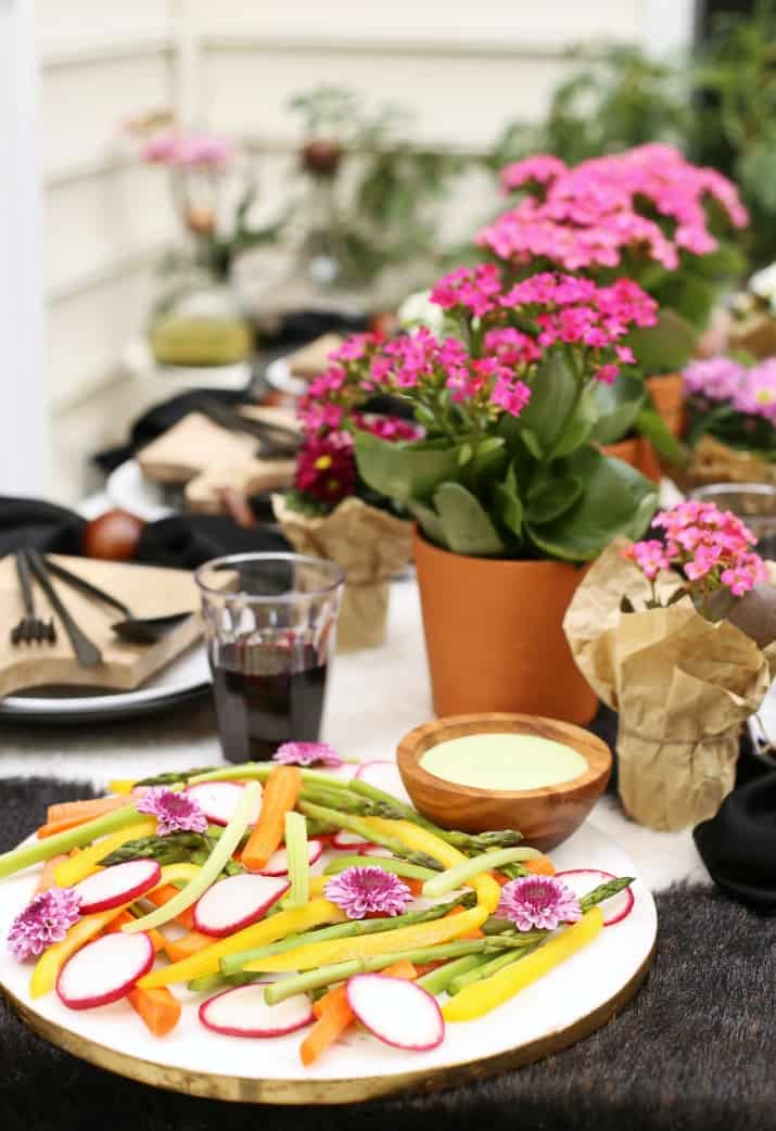 crudites platter on outdoor Black & White Dinner Party Tablescape with Mini Cheese Boards
