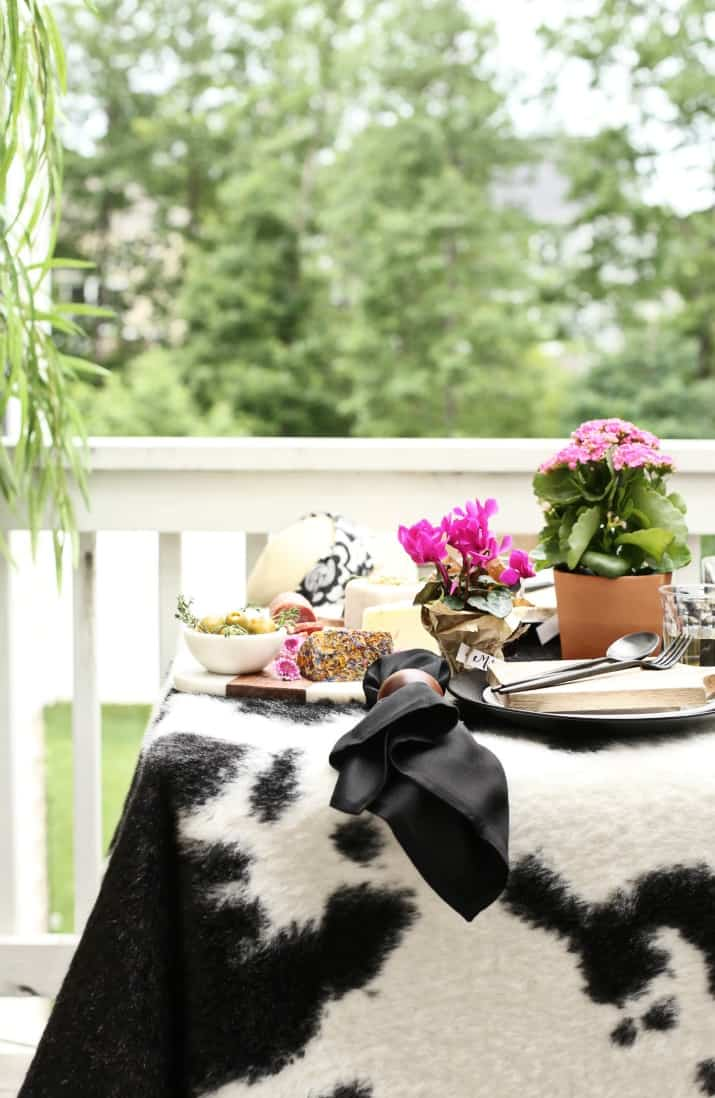 rawhide table topper for Black & White Dinner Party Tablescape with Mini Cheese Boards