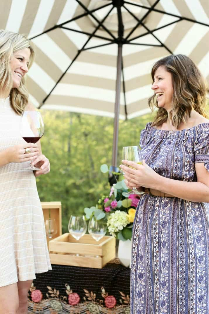 wine tasting party and diy sandwich bar - outdoor entertaining