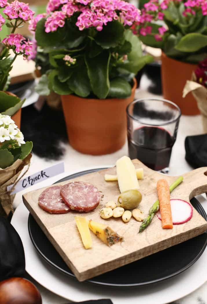 mini individual cheese boards on dinner party tablescape