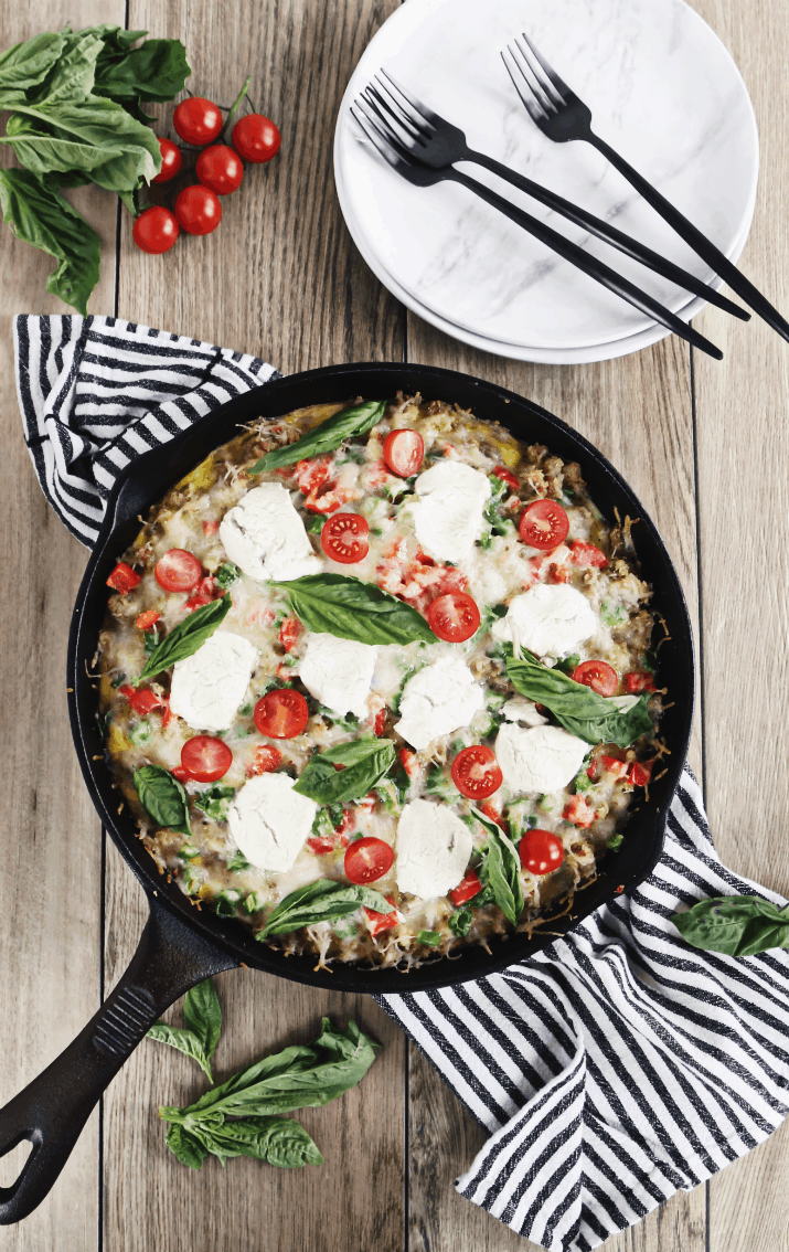 Brunch Skillet Recipe with Sausage & Hash Browns in cast iron skillet