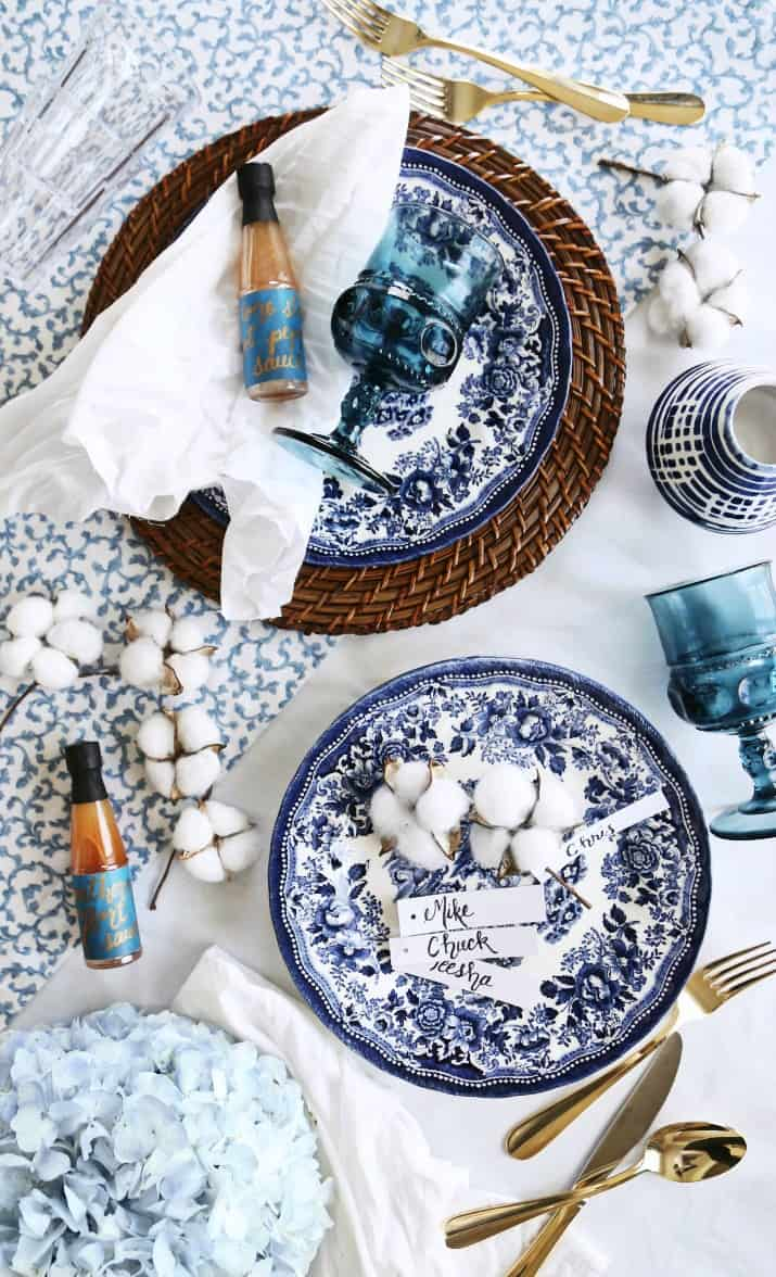 blue and white dinner party tablescape supplies