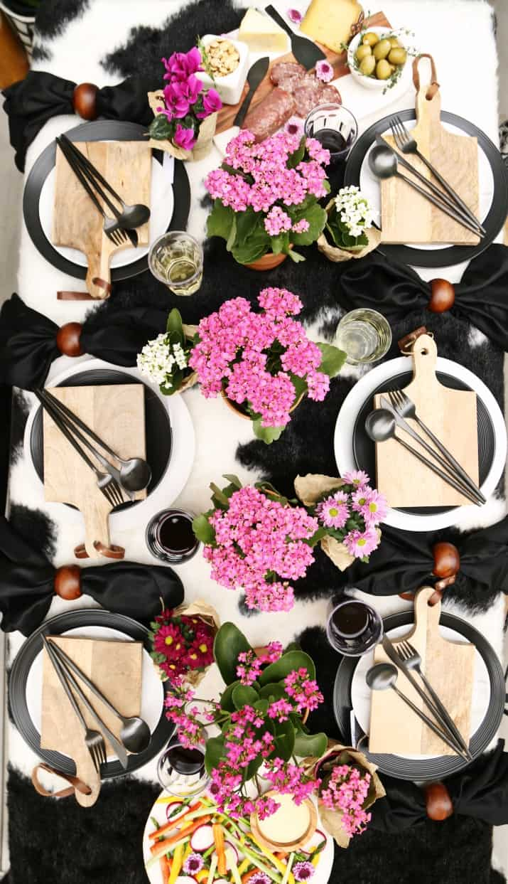 Black & White Dinner Party Tablescape with Mini Cheese Boards & rawhide table cover
