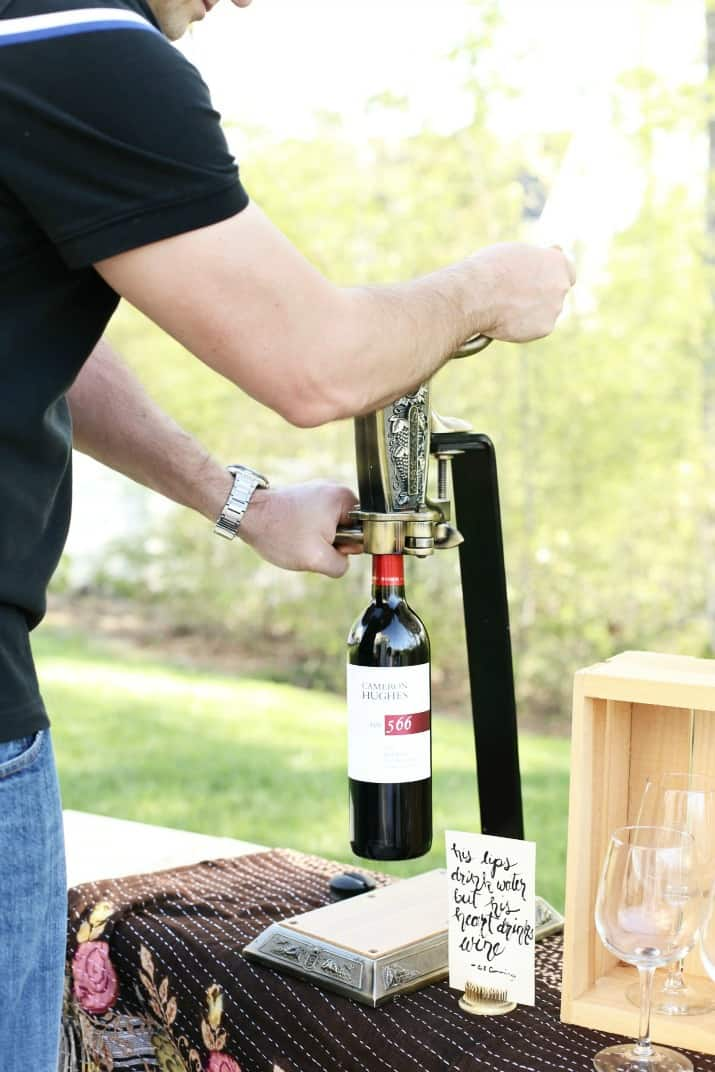 wine tasting party and diy sandwich bar - wine bottle opener