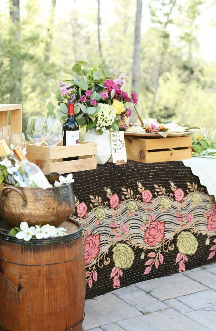 Wine Tasting party with DIY Sandwich Bar al fresco