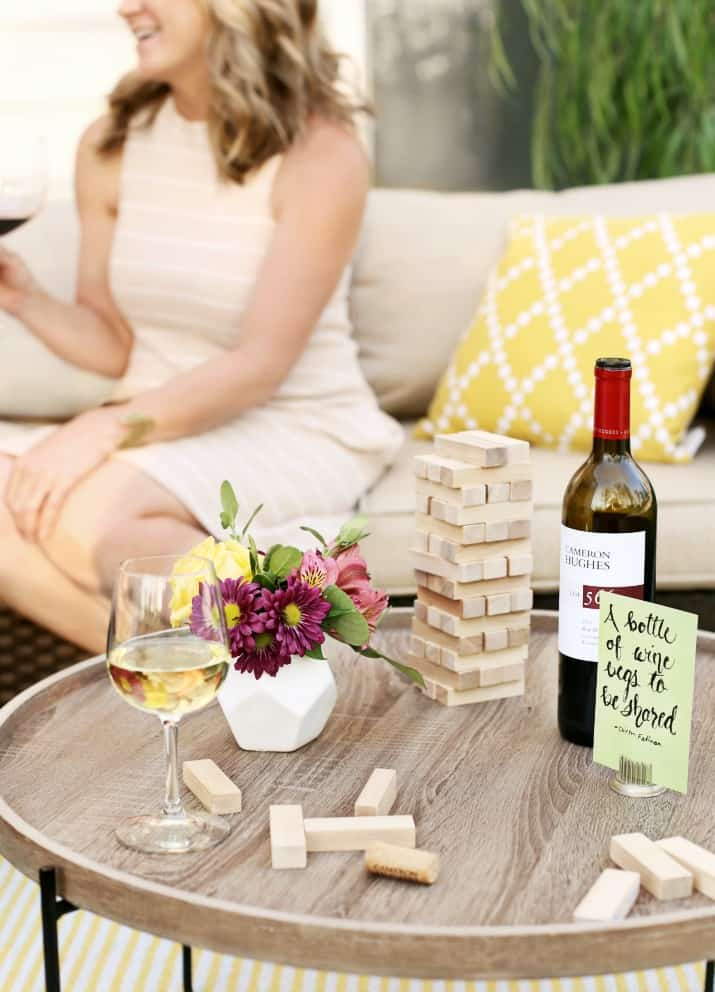 wine tasting party and diy sandwich bar on the patio